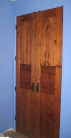door from used redwood decking